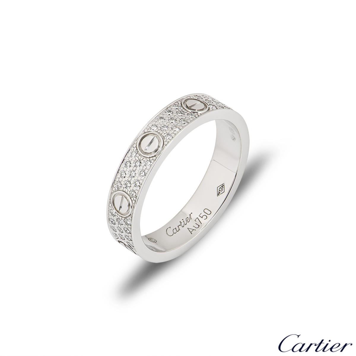 Cartier White Gold Pave Diamond Wedding Love Ring Size 51 B4083400